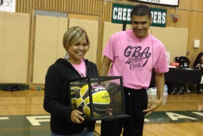 GBA giving Susie Gonzalez a custom ball (GBA Practice 2013)